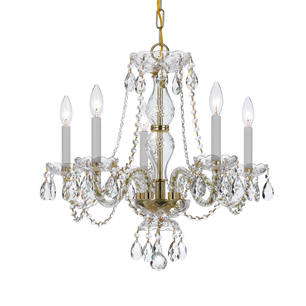Crystorama Traditional Crystal 5 Light Clear Crystal Brass Chandelier III