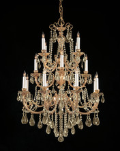 Crystorama 480-OB-GT-MWP - Crystorama Etta 16 Light Golden Team Hand Cut Crystal Chandelier