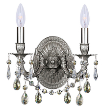 Crystorama 5522-PW-SS-MWP - Crystorama 2 Light Pewter Sconce
