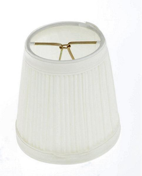 Clip On Shade; Bone Pleated Round