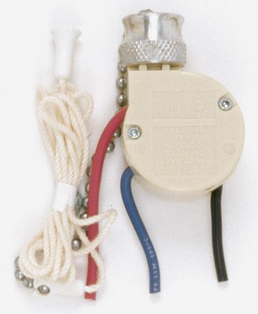 3 Way Ceiling Fan Switch, 2 Circuit w/Metal Chain,White Cord & Bell - Rated: 6A-125V, 3A-250V