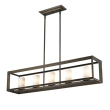 Golden Canada 2073-LP GMT-OP - Smyth 5 Light Linear Pendant in Gunmetal Bronze with Opal Glass