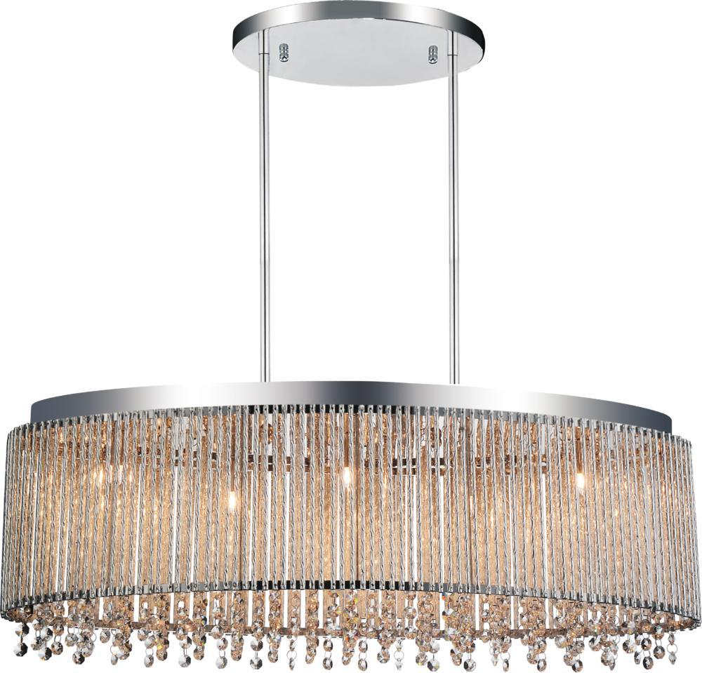 5 Light Drum Shade Chandelier with Chrome finish
