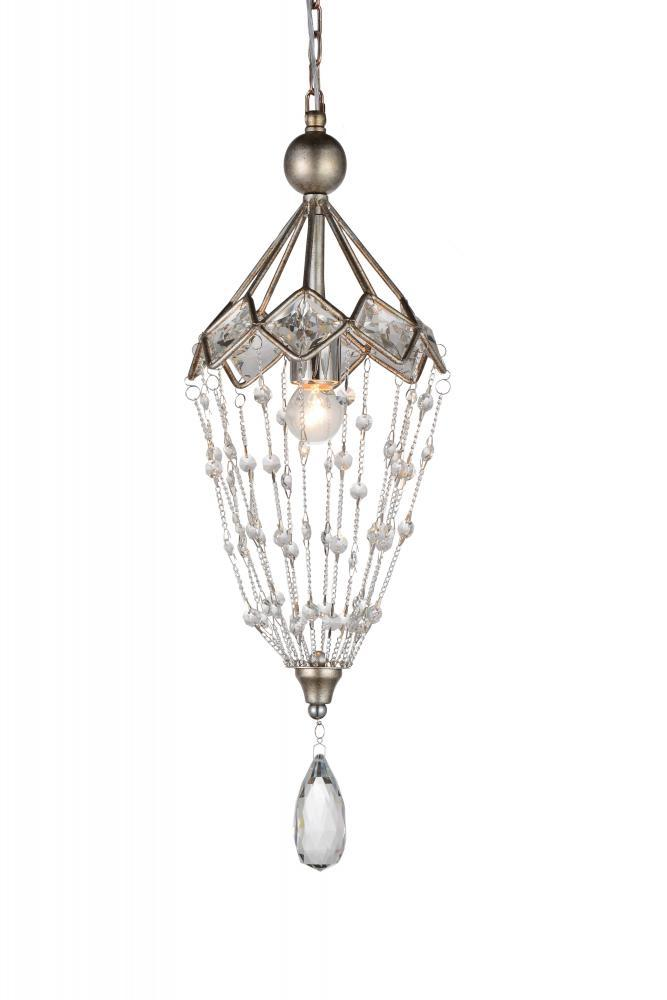 1 Light Down Mini Chandelier with Speckled Nickel finish