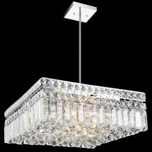 Crystal World 8005P14C-S - 6 Light Down Chandelier with Chrome finish