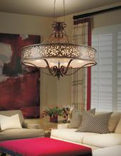 Crystal World 9807P39-6-116 - 4 Light Brushed Chocolate Drum Shade Chandelier from our Nicole collection