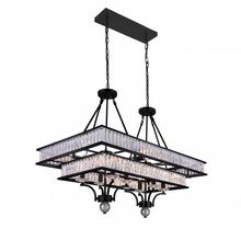 Crystal World 9972P37-16-101 - 16 Light Black Island / Pool Table Chandelier from our Shalia collection
