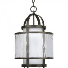 Progress P3701-20 - One Light Antique Bronze Distressed Clear And Etched Opal Glass Framed Glass Foyer Hall Fixture
