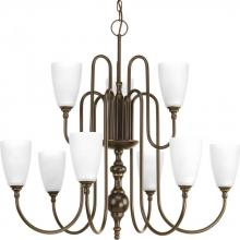 Progress P4236-20 - 9-Lt., 2-Tier Chandelier with Etched glass