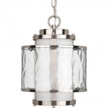 Progress P5589-09 - One Light Brushed Nickel Distressed Clear And Etched Opal Glass Outdoor Pendant