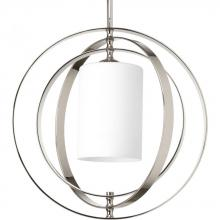 Progress P7078-104 - One Light Polished Nickel Etched Opal Glass Foyer Hall Pendant