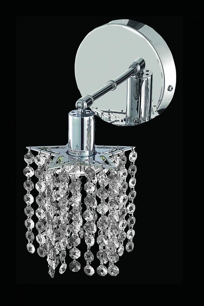 1281 Mini Collection Wall Sconce D:4.5in H:13.5in E:6in Lt:1 Chrome Finish (Spectra® Swarovski® Crys