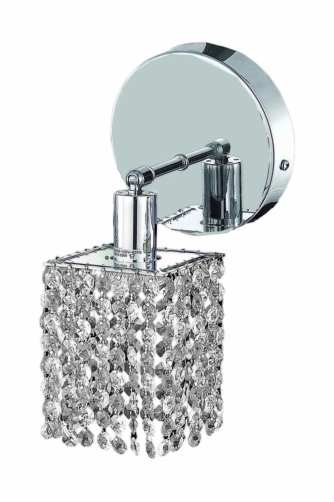 1281 Mini Collection Wall Sconce D:4.5in H:13.5in E:6in Lt:1 Chrome Finish (Swarovski® Elements Crys
