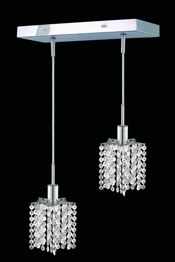 1282 Mini Colloection Pendant L:8 in W:4.5in H:4.5in Lt:2 Chrome Finish (Elegant Cut Crystals)