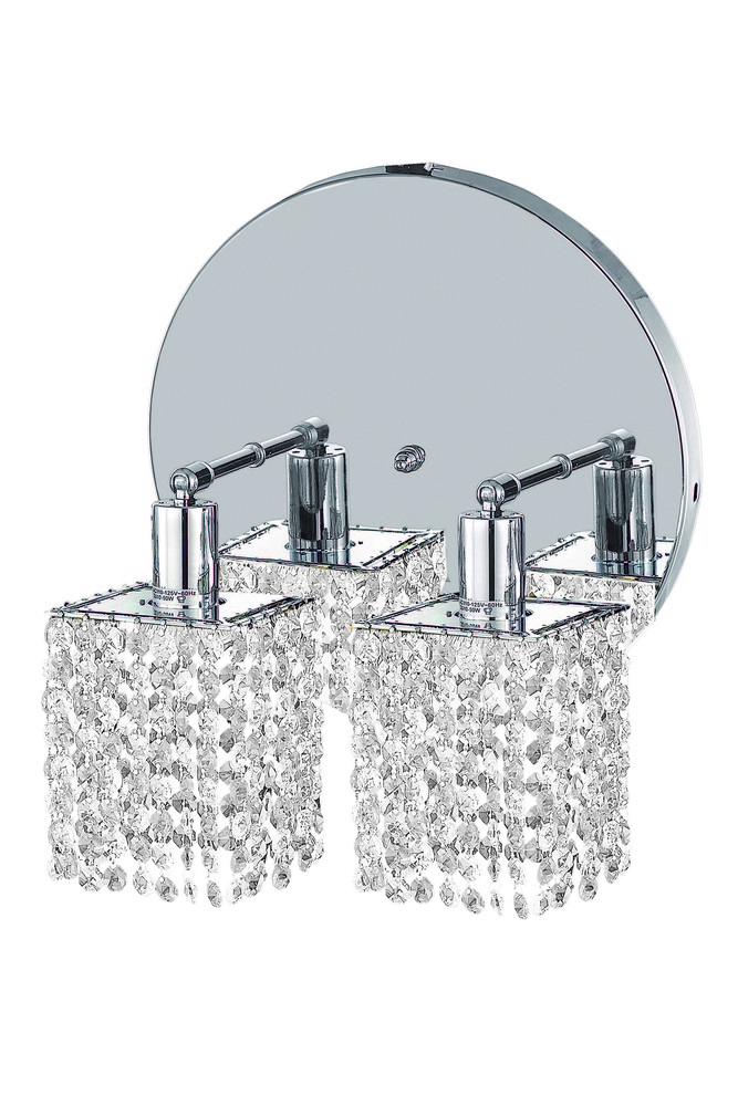 1282 Mini Collection Wall Fixture Round Canopy L8inx4.5in  H13.5in Square Pendant  Lt:2 Chrome Finis
