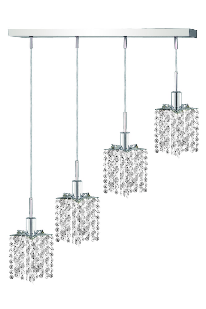 1284 Mini Colloection Pendant L:5 in W:26in H:8in Lt:4 Chrome Finish (Elegant Cut Crystals)