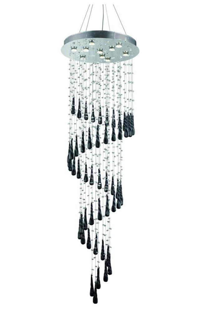2024 Comet Collection Large Hanging Fixture Black Prism Drops H72in D24in Lt:10 Chrome Finish (Royal