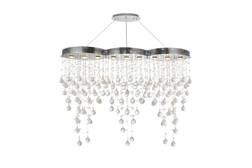 2025 Galaxy Colloection Chandelier L:48 in W:10in H:36in Lt:9 Chrome Finish (Spectra® Swarovski® Cry