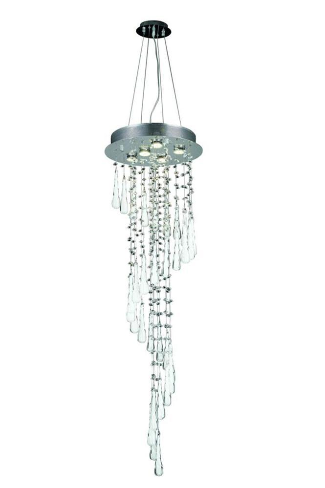 2028 Comet Collection Large Hanging Fixture White Prism Drops H48in D16in Lt:5 Chrome Finish (Royal