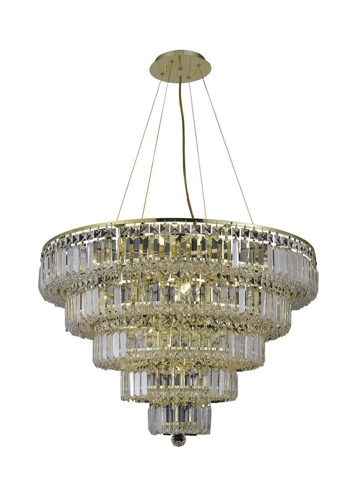2036 Maxime Collection Chandelier D:30in H:22in Lt:17 Gold Finish (Royal Cut Crystals)