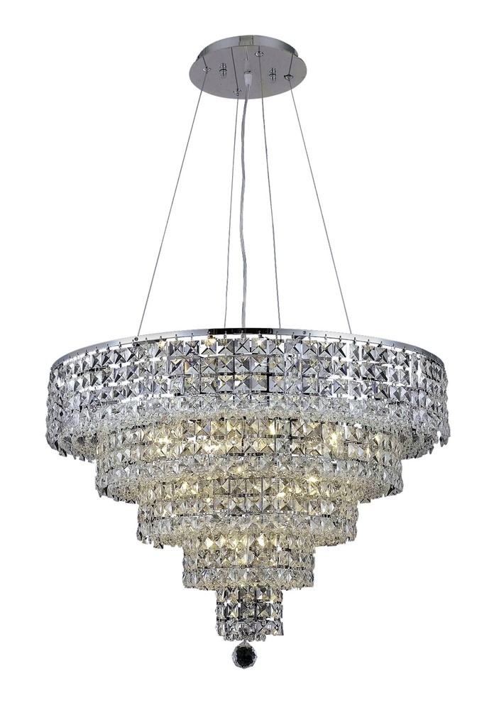 2037 Maxime Collection Chandelier D:26in H:20in Lt:14 Chrome Finish (Royal Cut Crystals)