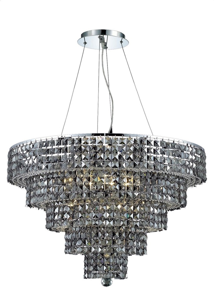 2037 Maxime Collection Chandelier D:30in H:22in Lt:17 Chrome Finish (Royal Cut Crystals)