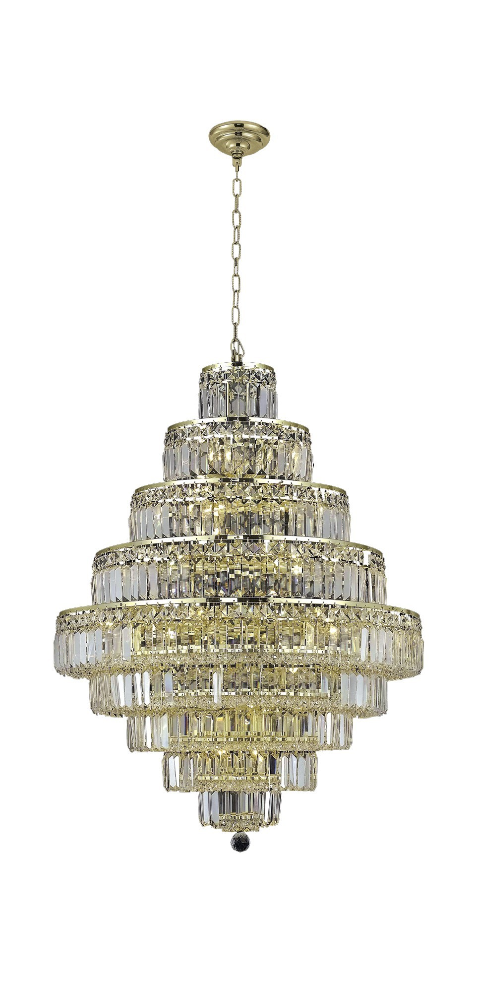 2038 Maxime Collection Chandelier D:30in H:41in Lt:20 Gold Finish (Elegant Cut Crystals)