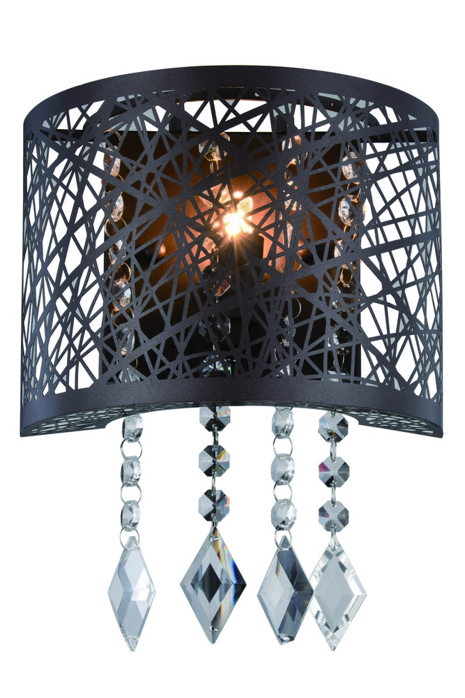 2113 Finley Collection Wall Sconce D:8in H:6in E:4in Lt:1 Matte Dark Brown Finish (Royal Cut Crystal