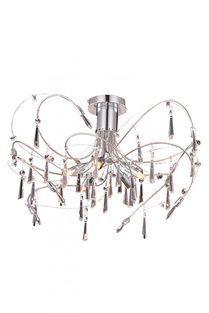 3203 Galactic Collection Ceiling lamp D: 22 H: 14 Lt: 5 Chrome Finish (Royal Cut Crystal)
