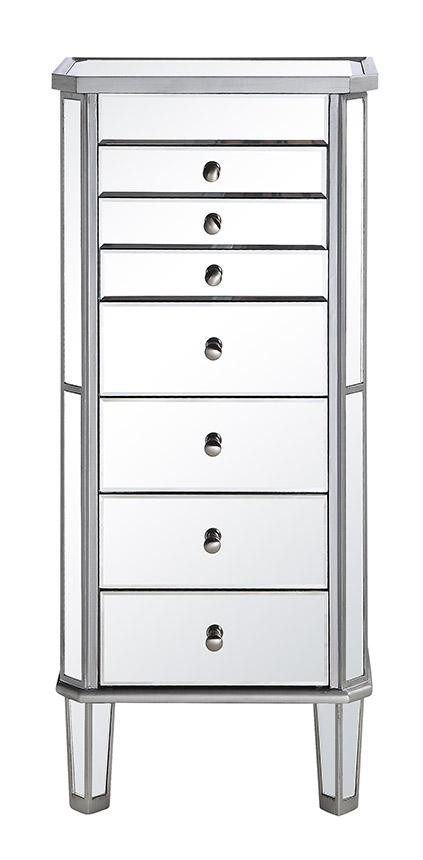 7 Drawer Jewelry Armoire 18 in. x 12 in. x 41 in. in Silver Clear