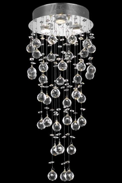 2006 Galaxy Collection Flush Mount D:12in H:30in Lt:3 Chrome Finish (Swarovski® Elements Crystals)