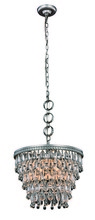 Elegant 1219D16AS/RC - 1219 Nordic Collection Pendant D:16in H:12in Lt:4 Antique Silver Finish (Royal Cut Crystals)