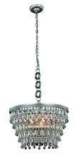 Elegant 1219D19AS/RC - 1219 Nordic Collection Pendant D:19in H:12in Lt:5 Antique Silver Finish (Royal Cut Crystals)