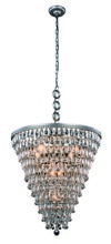 Elegant 1219D24AS/RC - 1219 Nordic Collection Chandelier D:24in H:26in Lt:7 Antique Silver Finish (Royal Cut Crystals)
