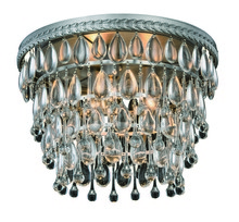 Elegant 1219F15AS/RC - 1219 Nordic Collection Flush Mount D:15in H:10in Lt:3 Antique Silver Finish (Royal Cut Crystals)
