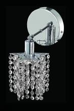 Elegant 1281W-R-P-CL/RC - 1281 Mini Collection Wall Sconce D:4.5in H:13.5in E:6in Lt:1 Chrome Finish (Royal Cut Crystals)