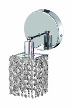 Elegant 1281W-R-S-CL/RC - 1281 Mini Collection Wall Sconce D:4.5in H:13.5in E:6in Lt:1 Chrome Finish (Royal Cut Crystals)