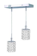 Elegant 1282D-O-S-CL/RC - 1282 Mini Colloection Pendant L:8 in W:4.5in H:4.5in Lt:2 Chrome Finish (Royal Cut Crystals)