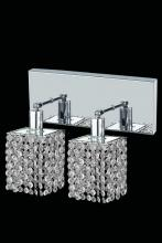 Elegant 1282W-O-S-CL/RC - 1282 Mini Collection Wall Sconce L:8in W:4.5in H:13.5in E:6in Lt:2 Chrome Finish (Royal Cut Crystals