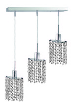 Elegant 1283D-O-E-CL/SS - 1283 Mini Colloection Pendant L:4.5 in W:14.5in H:4.5in Lt:3 Chrome Finish (Swarovski� Elements Crys