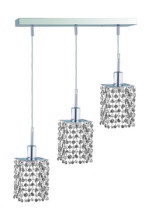 Elegant 1283D-O-S-CL/RC - 1283 Mini Colloection Pendant L:4.5 in W:14.5in H:4.5in Lt:3 Chrome Finish (Royal Cut Crystals)