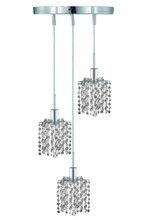 Elegant 1283D-R-P-CL/SS - 1283 Mini Collection Pendant D:9in H:4.5in Lt:3 Chrome Finish (Swarovski� Elements Crystals)