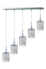 Elegant 1285D-O-R-CL/RC - 1285 Mini Colloection Pendant L:5 in W:34in H:4.5in Lt:5 Chrome Finish (Royal Cut Crystals)