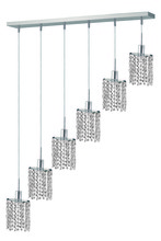 Elegant 1286D-O-E-CL/RC - 1286 Mini Colloection Pendant L:5 in W:40in H:4.5in Lt:6 Chrome Finish (Royal Cut Crystals)