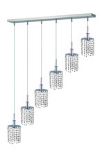 Elegant 1286D-O-R-CL/RC - 1286 Mini Colloection Pendant L:5 in W:40in H:4.5in Lt:6 Chrome Finish (Royal Cut Crystals)