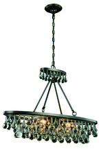 Elegant 1509D34BZ - 1509 Bettina Colloection Pendant L:34 in W:10in H:25in Lt:4 Bronze Finish (Royal Cut Crystals)