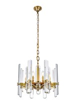 Elegant 1530D20BB/RC - 1530 Lincoln Collection Chandelier D:20in H:17in Lt:8 Burnished Brass Finish (Royal Cut Crystals)