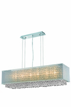 Elegant 1691D41C-CL03/SS - 1691 Moda Collection Hanging Fixture w/ Silver Fabric Shade L41in W12in H11in Lt:6  Chrome Finish (S