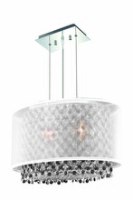 Elegant 1692D17C-CL03/RC - 1692 Moda Collection Hanging Fixture w/ Silver Fabric Shade L17.5in W12.5in H11in Lt:2 Chrome Finish