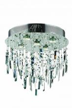 Elegant 2006F16SC/EC - 2006 Galaxy Collection Flush Mount Prism Drops H16in D16in Lt:5 Chrome Finish (Elegant Cut Crystals)